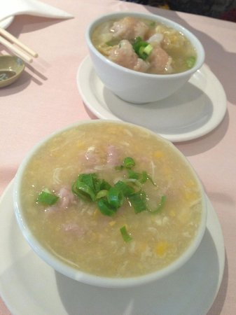 Ocean Seafood Chinese & Malaysian: wonton soup and chicken & corn soup