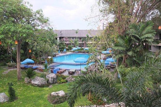 Garden Lodge: Blick vom Zimmer auf den Poolbereich