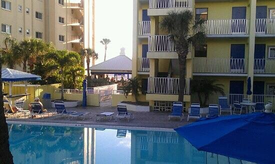 Alden Suites: view toward pool and beach