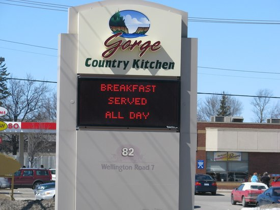 Road Sign for Gorge Country Kitchen.