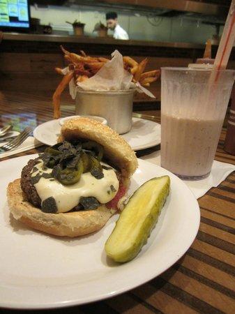 Bobby's Burger Palace : Santa Fe burger with fries and milkshake