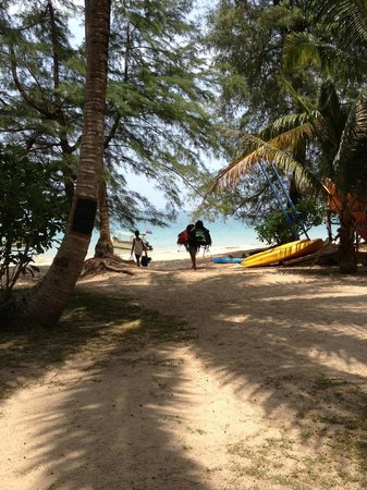 Sea Gypsy Village Resort & Dive Base: The path down to the beach from the bar