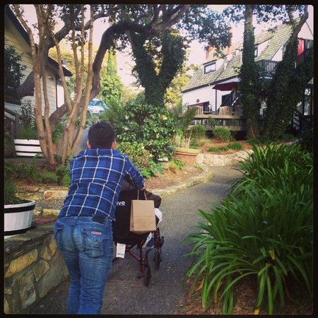 Forest Lodge: My husband pushing my 94 year old Grandmother back up the road to our room