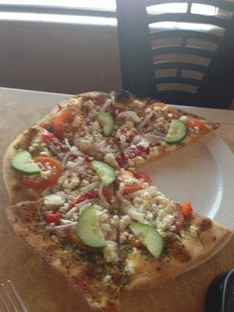 Karl's Woodfire Pizza N'More: Cucumbers on Pizza, Really?? Yes, Yummm. Caught me by surprise:)