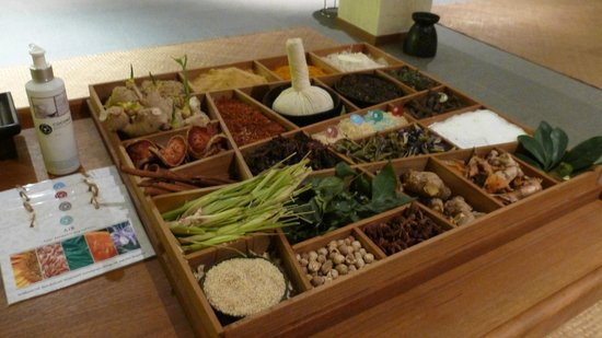 Luxsa Spa: Display of spices used by the spa operator