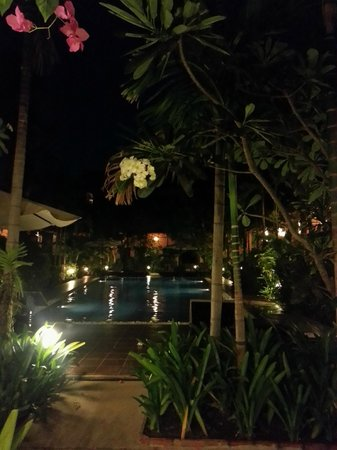 Central Boutique Angkor Hotel: One of the pools by night!