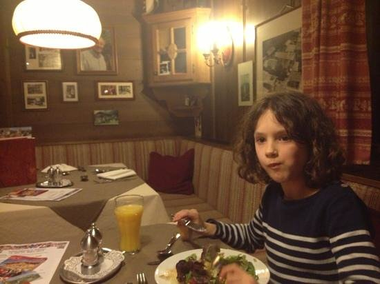 AktivHotel Hochfilzer: My daughter tucking in to a delicious meal
