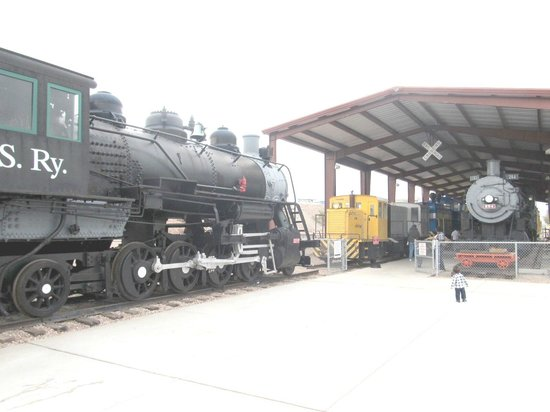 "Nevada State Railroad Museum : Engine 35 outside on display with 264 & switcher from the ""Jackass & Western"""