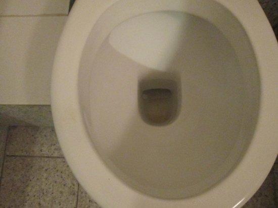 Hipotel Paris Belleville: Toilettes sales: tache sur le rebord et fond de cuvette