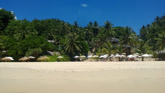 The Surin Phuket: View from the sea towards the hotel