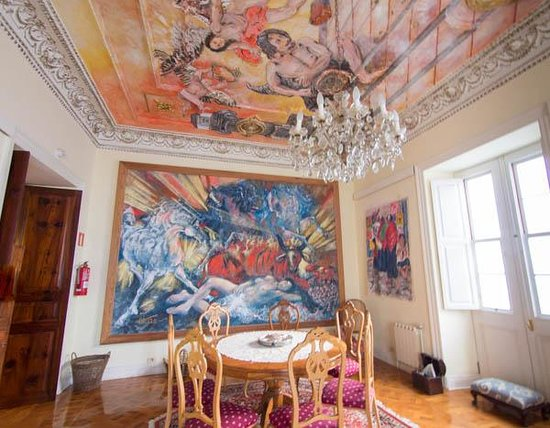 Hotel Alhambra: One of the public rooms, featuring the art of Antonio Otazzo