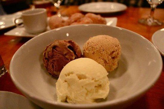 Two Restaurant & Bar: Homemade ice cream-banana, butterfinger, chocolate coffee