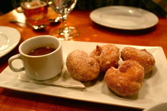 Two Restaurant & Bar: Homemade pretzel donuts, chocolate center, cinnamon sugar, drinking chocolate
