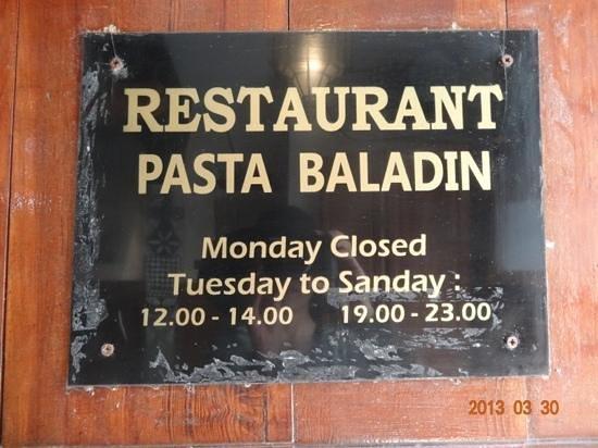 Pasta Baladin: 店舗名