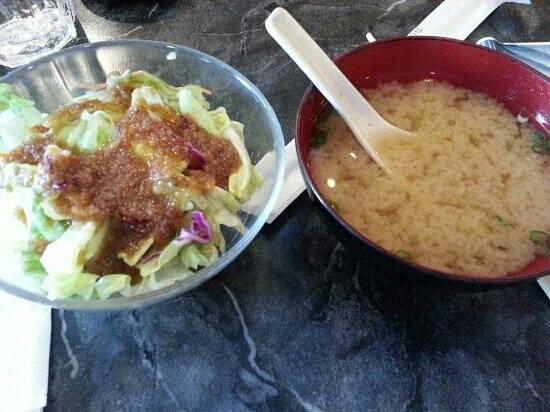 Aoba Japanese Restaurant: Complimentary miso soup and salad