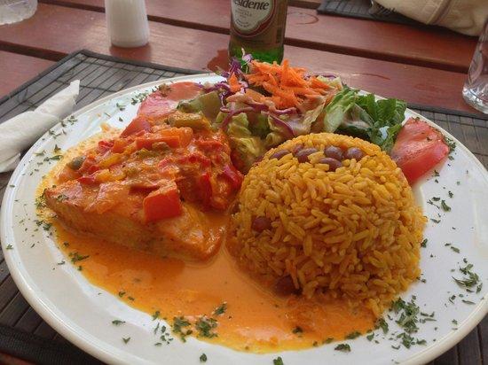 Le String Beach : creole style Mahi Mahi with creole rice - unbelievable!