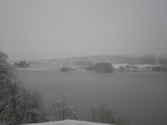 Loch Awe, UK: View from our room on a snowy morning