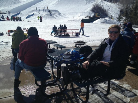 Buttermilk Mountain: At the base: watch half pipe/aerobatics, dine, catch your breath, or people watch