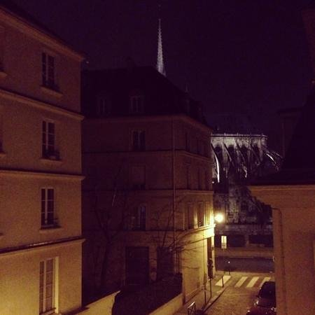 Melia Colbert - Paris: view from the room 22 to the Notre Dame at night