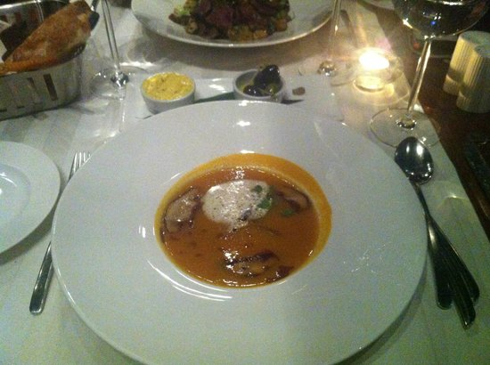 "Sky Lounge: PUMPKIN SOUP WITH ""CONFIT"" ONIONS AND DUCK RAGOUT WITH CHANTERELLES"