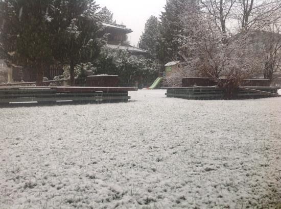 Hotel Cristina: Giardino esterno durante una nevicata