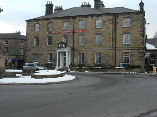 Rutland Arms Hotel Bakewell: view of Hotel from public gardens across the road