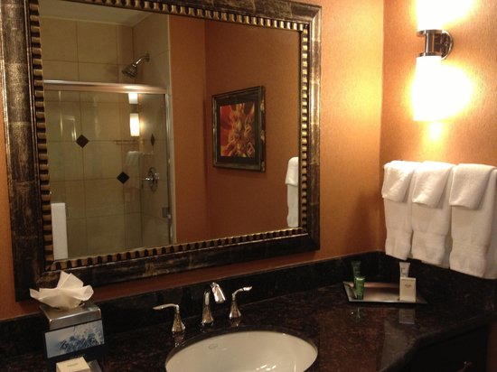 Hilton Dallas / Rockwall Lakefront: Bathroom vanity & shower across
