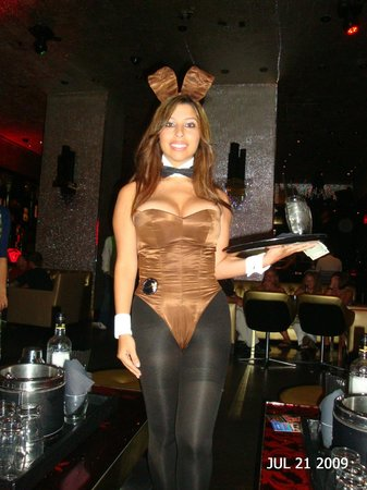 The Playboy Club at the Palms: Super fun bunny...not...I think this is the first smile we saw.