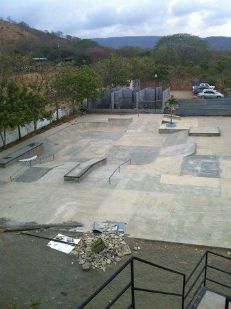 Surf Ranch Hotel & Resort: skate park (plus rubble) from the roof (not-yet-deck)