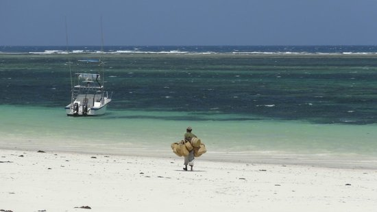 Diani Blue : A guy selling his baskets...