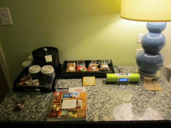 ACME Hotel Company Chicago: little tray next to the bed, snacks are not free
