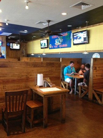 Port Aransas Brewing Company: Booth seating.  In a brewery?
