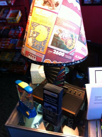 Yestercades: At the counter they have a couple of lamps made from Atari 2600 products, courtesy of AtariAge.c