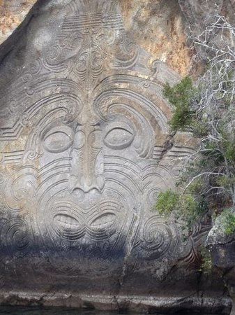 Sail Barbary: Rock carvings on Lake Taupo with Jamie.