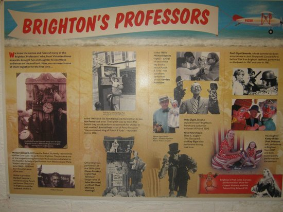 Fishing Museum: Wall poster explaining about entertainers who visited Brighton in the past.