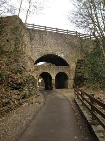 Caumont-L'Evente, France: 4 arch bridge on the approach to the mine
