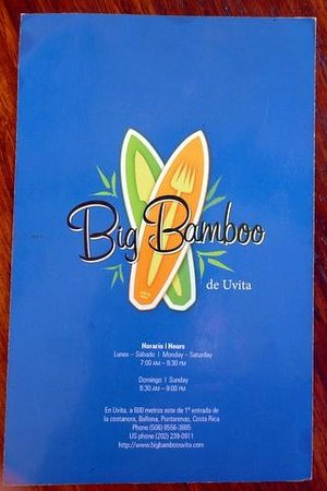 Big Bamboo Uvita : Menu cover