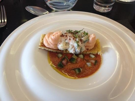 Restaurant 23: crab, prawn & salmon mousse in a wonderful gazpacho
