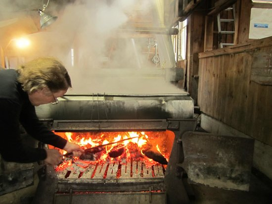 Parker's Maple Barn: wood fire heats the sap and boils it down