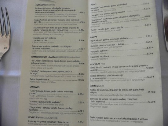 All Inclusive Drinks Menu Picture Of H10 Rubicon Palace