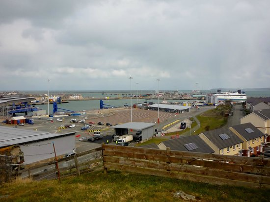 Holyhead ferry port as seen from Skinner's Monument.
