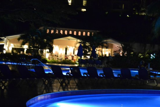 St. James's Club Morgan Bay: Pool area at night