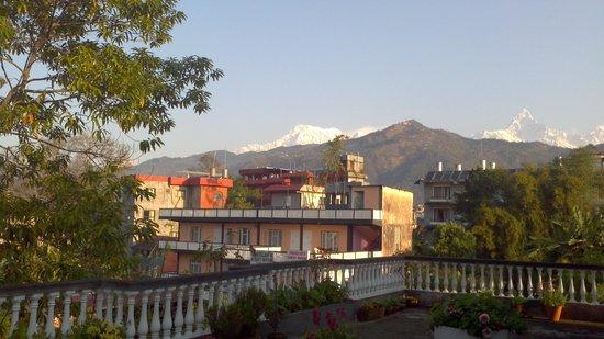 Sacred Valley Inn Pokhara: Machapuchare seen from SVIP terrace.