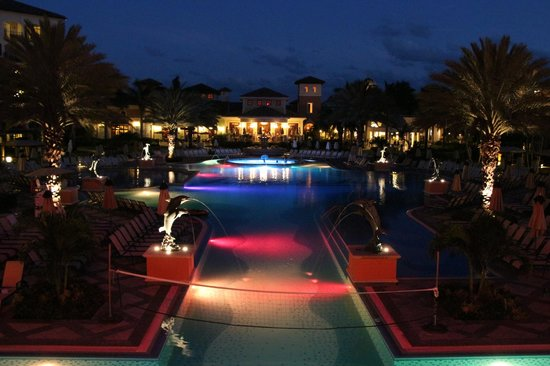 Beaches Turks & Caicos Resort Villages & Spa: Italian Village Pool at Night
