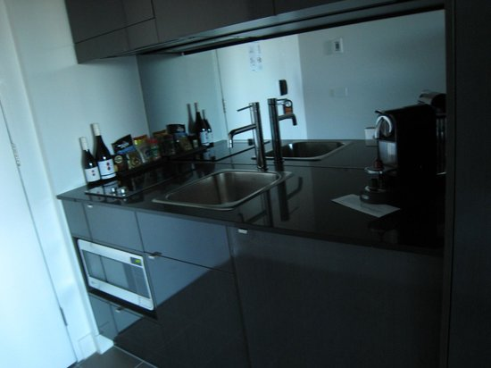 KItchen with very top quality organic selection of snacks, electric stove  and fridge - Picture of East Hotel, Canberra - Tripadvisor