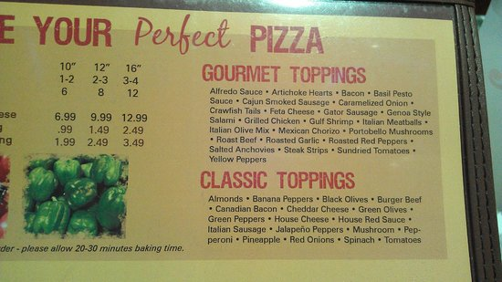 Peppers Pizzeria: Pepper's Pizza toppings