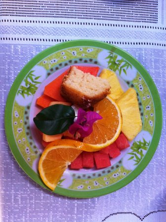 Posada Los Mapaches: first course each morning: fruit and cake