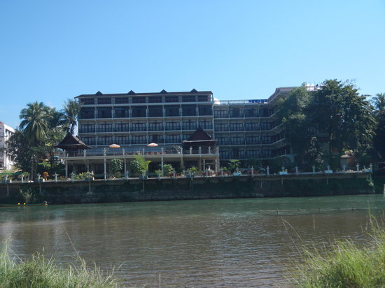 Silver Naga Hotel: our hotel from across the nam song going to blue lagoon