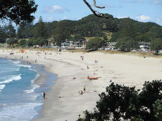 Mount Maunganui Base Track : main beach at Mt Maunganui from the track around the Mount