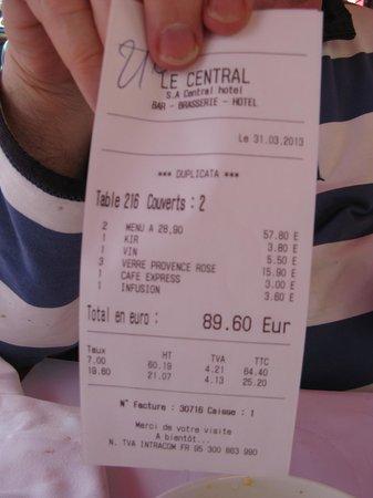 Brasserie Le Central: Bill